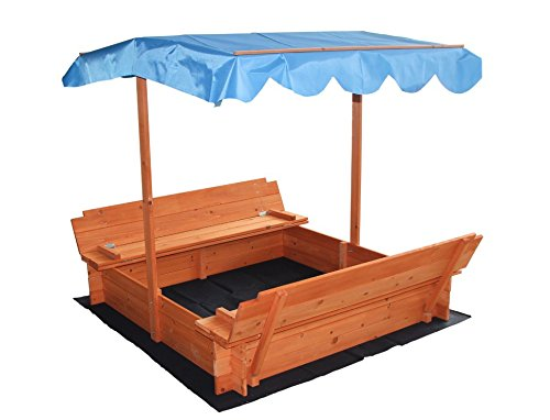 Merax Convertible Kids Sandbox with Canopy and Two Bench Seats Big Enough for 3 to 4 Kids