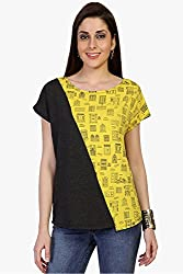 Funk For Hire Women Cotton Lycra knit Wall printed Block Top (Yellow & Grey, Size M)