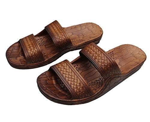 Hawaii Brown or Black Jesus sandal Slipper for Men Women and Teen Classic Style (8, Brown)