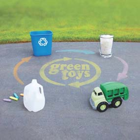 Green Toys are made from 100% recycled plastic.