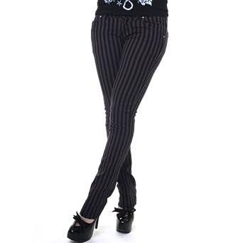 Black and Grey Stripe Stretch Skinny Fit Jeans Rock Punk Glam Retro Indie (8)