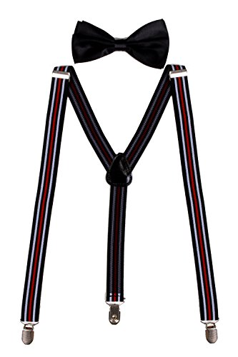 Sunny Ocean Men's Suspenders Black Bow Tie Suspenders Set Black White Red Stripe (Bow Tie Captain America compare prices)
