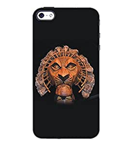 PrintDhaba Lion D-5135 Back Case Cover for APPLE IPHONE 4 (Multi-Coloured)