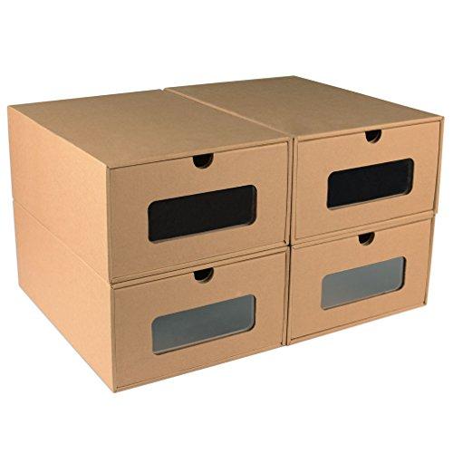Shoe Box Transparent Drawer Stackable Storage Organizer Case - Men's Set of 4 (Big Shoe Organizer compare prices)