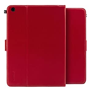 Proporta Leather Style Folio Case for Apple iPad Air - Slate Black with Stand Function - Central Red