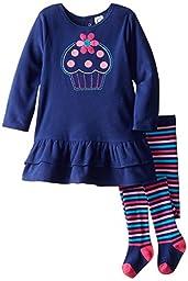 Gerber Little Girls\' 2 Piece Micro Fleece Dress with Tights, Cupcake, 3T