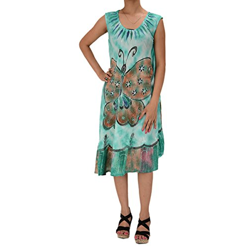 Skirts & Scarves Rayon Butterfly Caftan Tie N Dye Embroidered Sleeveless Dress For Women (Sea Green)