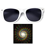Solid Dark Lens Diffraction Sunglasses -Swirl Rainbow Affect-
