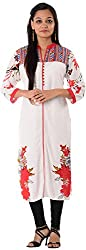 Kaashvi Creations Women's Cotton Straight Kurta (99901000000194-S, White, Small)