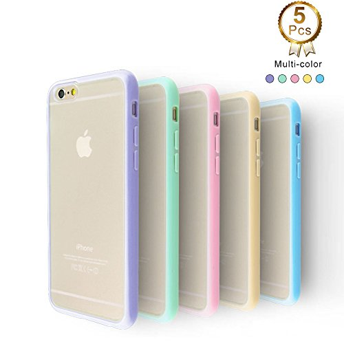 iPhone 6 Case, 5 Pcs Ace Teah™ iPhone 6 / 6S (4.7 inch) Protective Case Hard Back Cover PC with Shock Absorbing TPU Anti-Scratch Finish Slim thin Bumper Case - Purple, Green, Blue, Pink, Beige