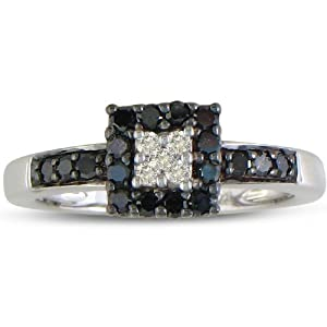 Click to buy Black and White Diamond Engagement Ring in Sterling Silver from Amazon!