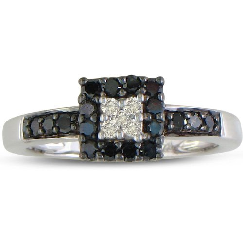 1/3ct Black and White Diamond Engagement Ring in Sterling Silver