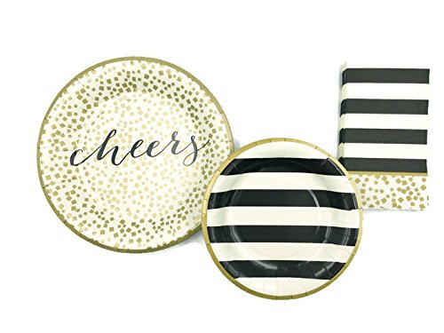 C.R. Gibson Gold and Black Dinner and Dessert Paper Plates and Napkin Bundle