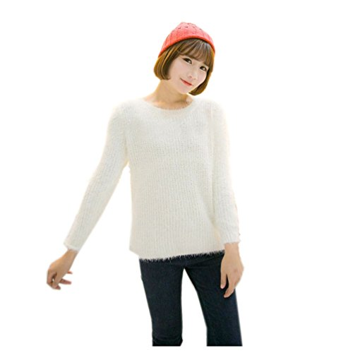 Long Sleeve Mohair Hairy Furry Causal Warm Candy Colors Knitting Sweater (Size M)