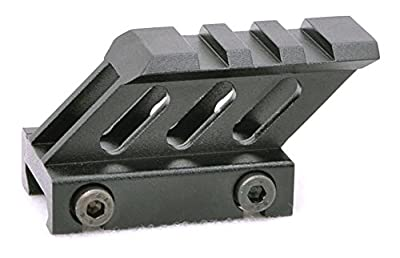 "45 Degree 1"" Riser SMRM1C Hammers 45 Degree Angled Forward Extending 1"" Micro Mini Riser Mount with Picatinny Rail Top for Mini Micro Red Dot Sights, Anodized Flat Black from Wing-Sun Trading, Inc."