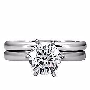 Elegant 1.25ct Brilliant Cut Russian Ice on Fire Diamond CZ 2 piece 316 Stainless Steel Bridal Wedding Ring Set, sz 8.0, Bella
