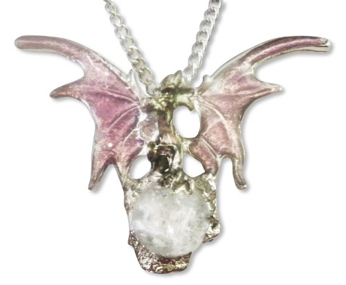 Light Purple Dragon Pendant with Cracked Crystal Orb 20 Inch Necklace