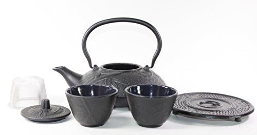 Japanese Antique 24 Fl Oz Black Pine Plum Bamboo Cast Iron Teapot Tetsubin with Infuser Tea Set with Trivet