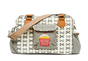 Yummy Mummy Stylish Nursery Changing Bag - Includes Travel Changing Mat Cupcake Design Luxury Baby Bag - Colour Grey Bows by Pink Lining