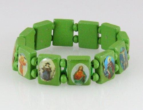 4030460 Wood Holy Saints and Icons Christian Jesus Christ Stretch Bracelet Catholic