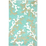 Jaipur Rugs Inc Hand Tufted, Coral Fixation Turquoise Blue/White, 2 by 3 Feet