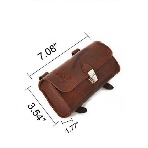 OLizee™ Vintage Style PU Leather Bike Saddle Bag Seat Bag Tail Pouch 5