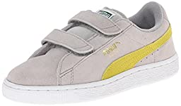 PUMA Suede 2 straps Sneaker (Infant/Toddler/Little Kid) , Limestone Gray/Sulphur Spring/Team Gold, 3 M US Little Kid