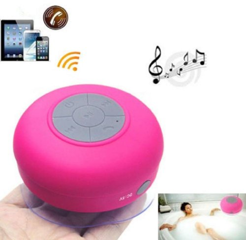 Baudio Waterproof Wireless Bluetooth Shower Speaker With Suction Cup For Showers, Bathroom, Pool, Boat, Car, Beach, Outdoor / With Hands Free Speakerphone Compatible With All Bluetooth Devices Iphone 5S And All Android Devices (Pink)
