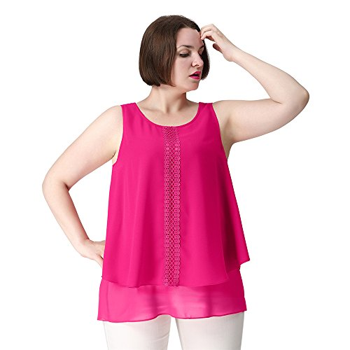 TM Plus Size Casual Loose Fit Tunic Dressy Clubbing Tank Tops for Women Workout 24W Hot Pink (Hot Pink Dressy Tank compare prices)