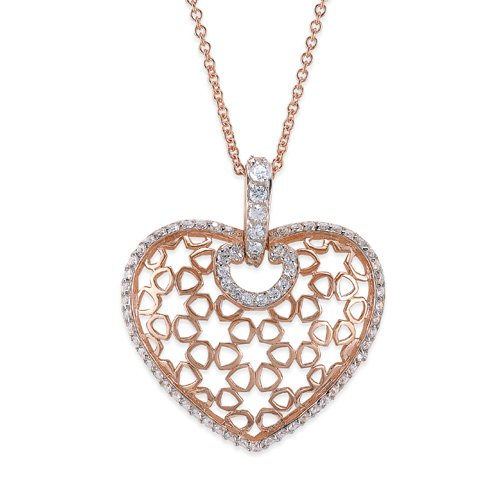 C.Z. Puffed Heart Fashion Rose Plated (.925) S/S Pendant (Nice Holiday Gift, Special Black Firday Sale)