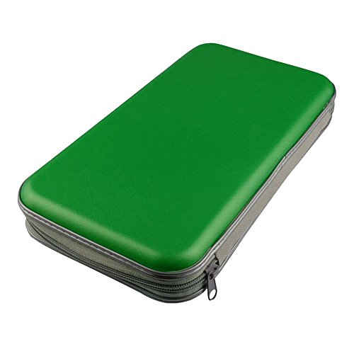 Japace® Borsa porta CD e DVD Wallet custodia per 80 Disco Album Zipper Verde