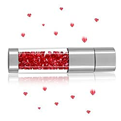 Techkey Jewelry Crystal USB Flash Drive for Girls,with 2 in 1 Anti Dust Plug + Stylus Pen for Touch Screens Set,Photo Frame Packaging,16GB,Ruby