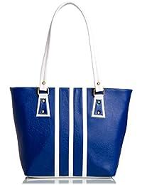 Mammon Women's Handbag Pu Leather Blue White (3stripBW, 40x30x10 CM)