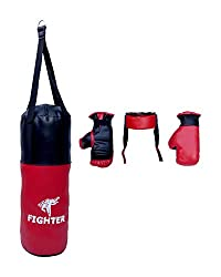 Fighter Synthetic Complete Set of Boxing, Kids' Large (Red and Black)