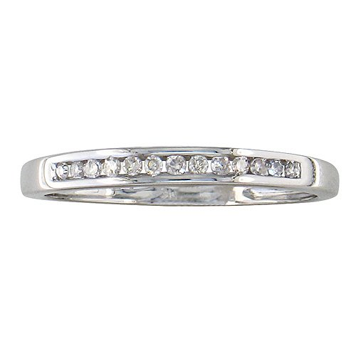 10K White Gold Channel Set Diamond Band 1/8ct tw. (Ring sizes 3-9)