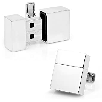Ravi Ratan Silver Rectangular USB 4GB Cufflinks