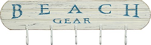 Beach-Gear-Beach-Lake-Pool-Style-Distressed-Coat-Hanger-Board-5-Hooks