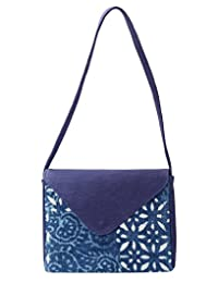 Antique Floral Blue Cotton & Durrie Dabu Printed Sling Bag For Girl's By Rajrang