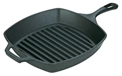Lodge Logic L8SGP3 Pre-Seasoned Square Grill Pan, 10.5-inch