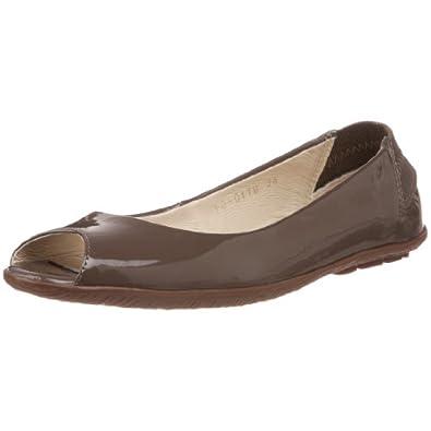 ALL BLACK Women's 24-7 Peep-Toe Flat, Brown, 38 EU/7.5 M US