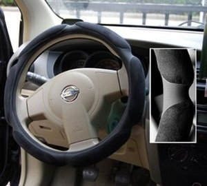 "Cosmos ® 15""-15.5"" Black PU and Velvet Car Steering Wheel Slip-on Cover + Free Cosmos Cable Tie from Cosmos"