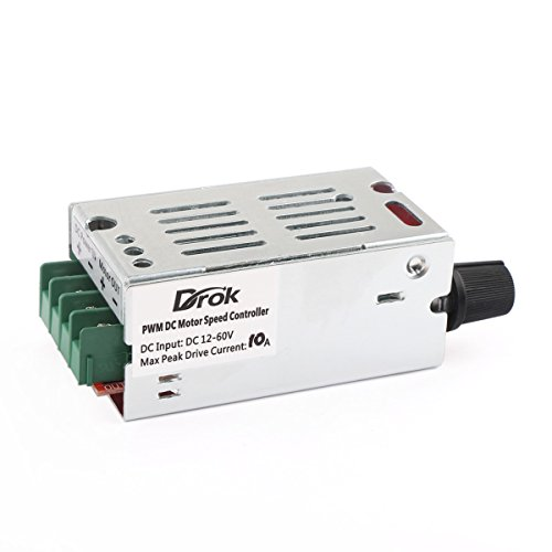 DROK® DC Motor Speed Control Driver Board 12V-60V 10A PWM Controller Stepless DC 12V 24V 36V 48V Variable Voltage Regulator Cooling Fans Dimmer Governor Switching Pulse Width Modulator 420W; Smooth and Flawless Operation; Build with LED Indicator and Switch Function