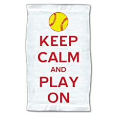 Buy Keep Calm Softball Towel by 4WoodenShoes