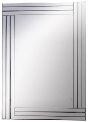 Modern / Art Deco Glass Bevelled Panel Frame Decorative Bedroom Wall Mirror 80 x 120 cm