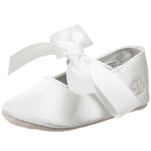 Ralph Lauren Layette Briley Ballet Crib Shoe (Infant/Toddler),Champagne Satin,3 M Us Infant