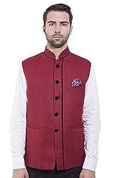 Wintage Men's Rayon Bandhgala Festive Maroon Nehru Jacket Waistcoat