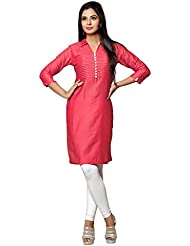 Swagg India Women's Cotton Pink Cotton Casual Long Kurta