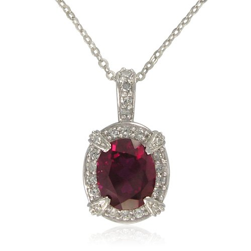 Sterling Silver Oval-Shaped Created Ruby with Cubic Zirconia Accent and Pendant Necklace , 18.5