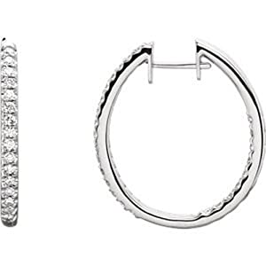IceCarats Designer Jewelry 14K White 3/4 Ctw Diamond Hinged Inside/Outside Hoop Earrings 14K White Gold