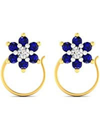 Voylla 14k Gold Nose Pin Adorned With Diamond And Blue Stones